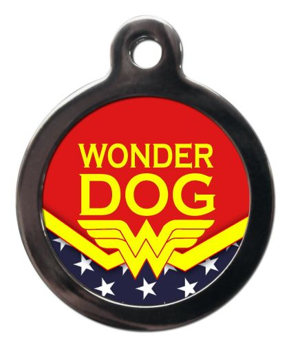 Pet ID Tag  WONDER DOG  with Wonder Woman logo personalised